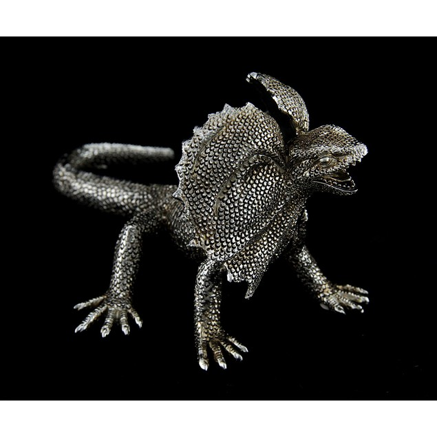 Silvery Metallic Frilled Neck Lizard Statue 10 In. Statues