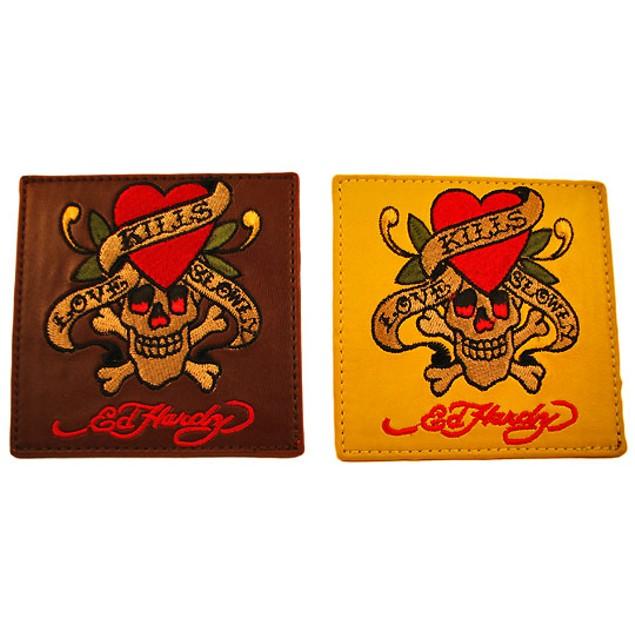 2 Sets Of 4 Ed Hardy `Love Kills Slowly` Leather Coasters