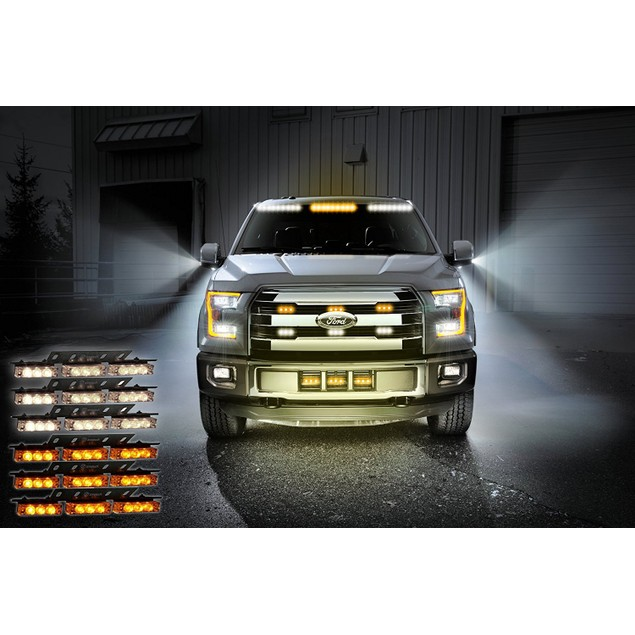 Zone Tech 54 LED Emergency Warning Strobe Lights White/Amber Windshield