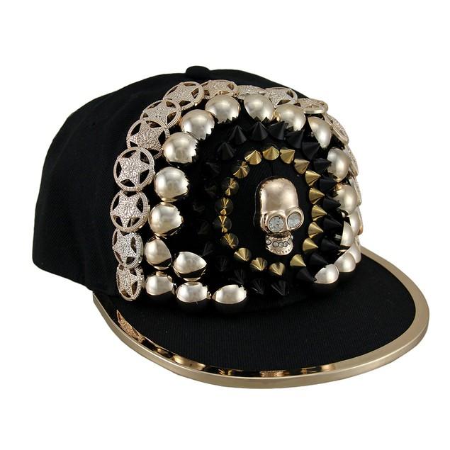 Copper Finish Skull & Urban Bling Black Snapback Mens Baseball Caps