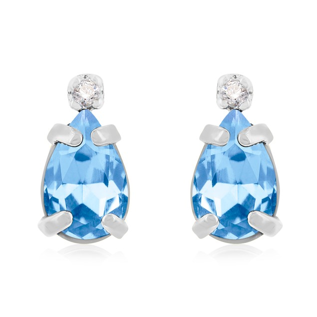 1 1/4ct Pear Blue Topaz and Diamond Earrings in 14k Gold