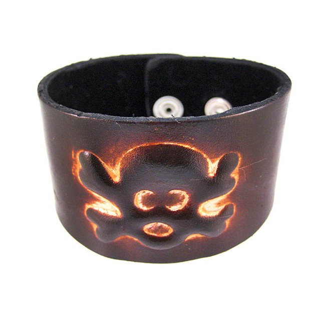 Brown Leather Skull & Crossbones Bracelet Mens Leather Bracelets