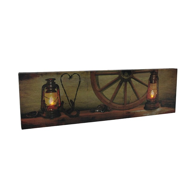 Rustic Led Lighted Lanterns Western Mantle Canvas Prints