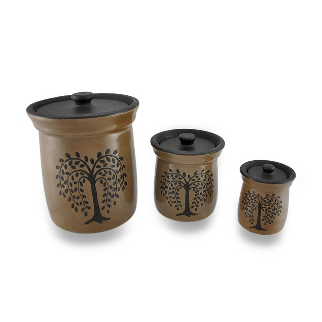 Crackled Finish Brown Olive Tree Porcelain Canisters