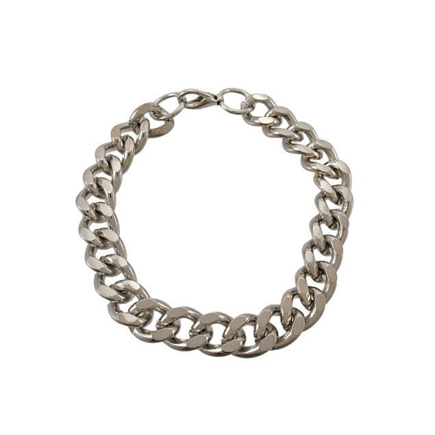 Silver Curb Chain Link Bracelet Mens Chain Bracelets