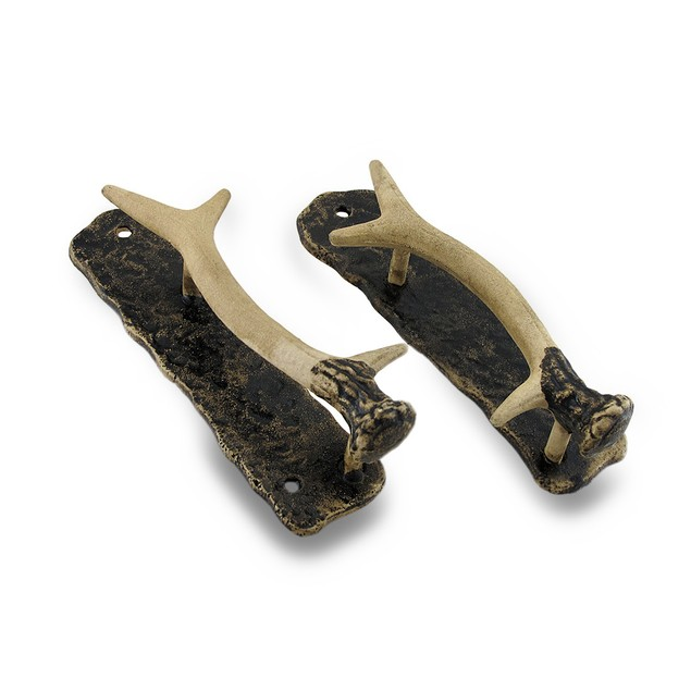 Decorative Metal Antler Handle Rustic Door Pull Door Handles