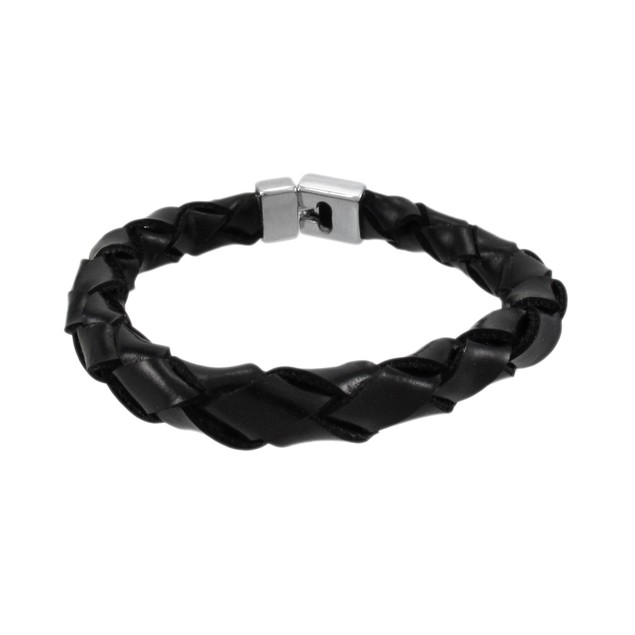 Black Leather Round Braided Bracelet 7 Inch Womens Leather Bracelets