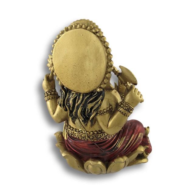 Golden Ganesha Sitting On Lotus Flower Statue Statues