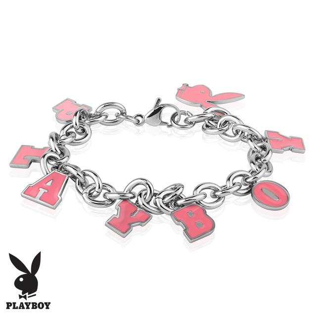 Pink Enamel Filled Playboy Charm Stainless Steel Bracelet