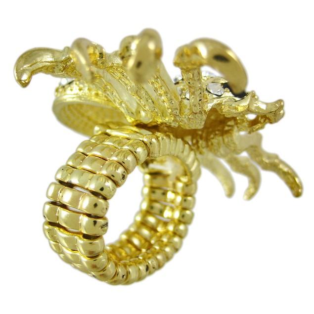 Rhinestone Encrusted Gold Tone Spider Stretch Ring Womens Rings