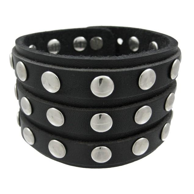 Black Leather 3 Row Metal Studs Wristband Wrist Mens Leather Bracelets