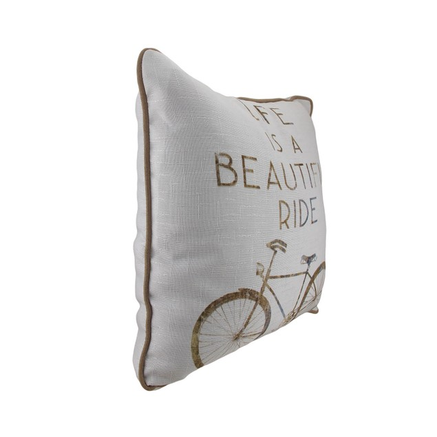 Set Of 2 Life Is A Beautiful Ride Bicycle Theme Throw Pillows