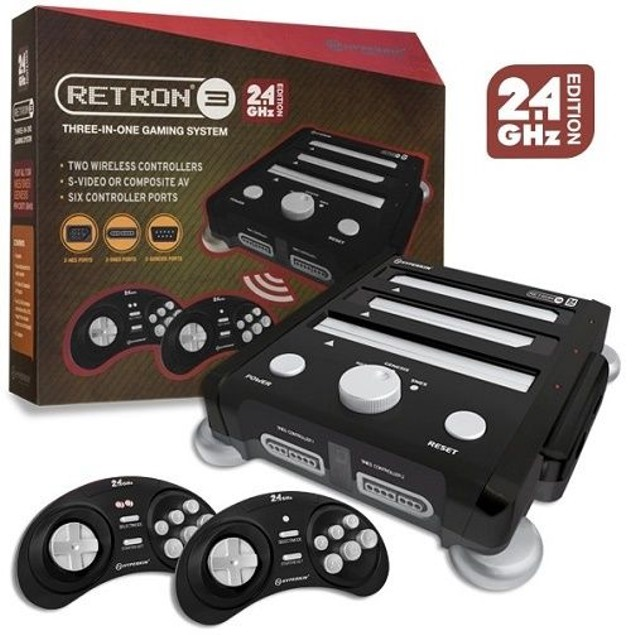 SNES/ Genesis/ NES RetroN 3 Gaming Console 2.4 GHz Edition (Onyx Black)