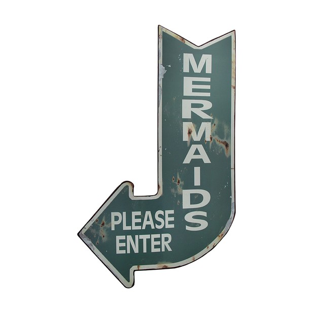 Mermaids Please Enter Vintage Finish Arrow Shaped Decorative Plaques