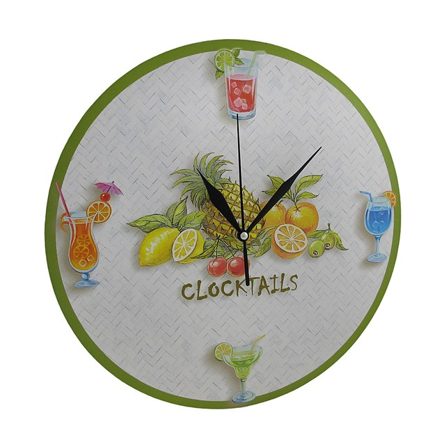Round Tropical `Clocktails` Wall Clock 12 In. Wall Clocks