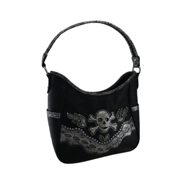 Rhinestone Skull Sequin Trim Oversize Concealed Womens Shoulder Handbags