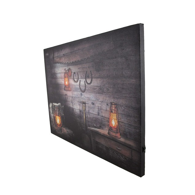 Rustic Lanterns On Wood Wall Rustic Led Lighted Prints