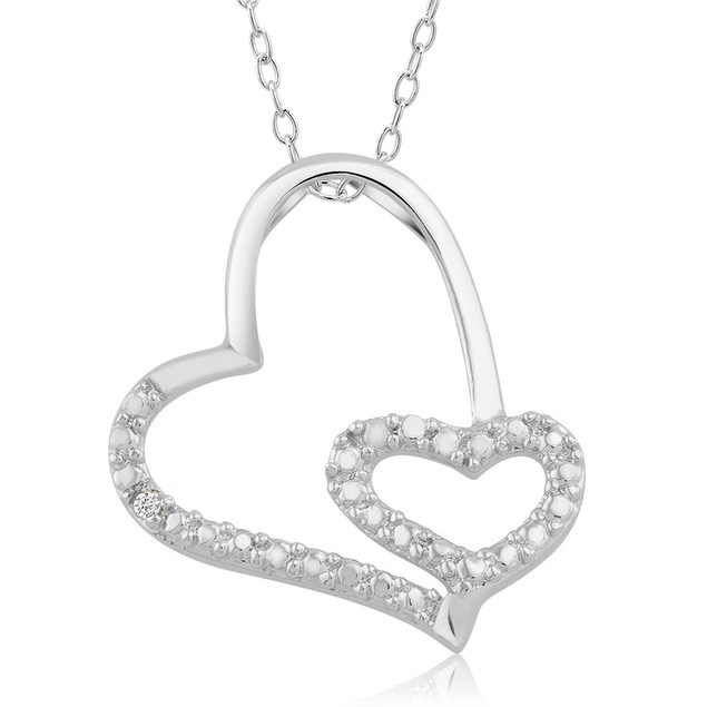 .10 Ct Diamond Accent Heart Necklace - Double Mini