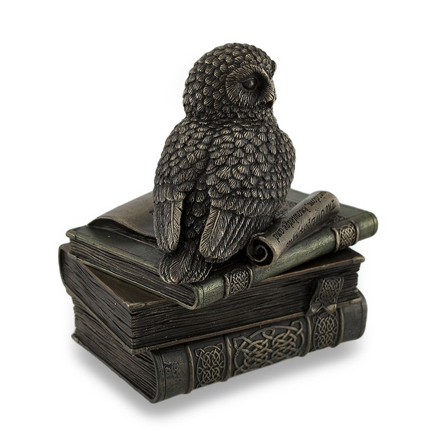 Owl Perched On Stack Of Books Bronzed Trinket Decorative Boxes