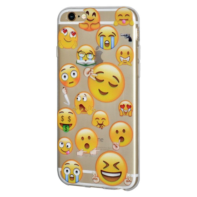 Soft Gel Graphic Emoji TPU Skin Case for iPhone 7 - Mixed Emotions 2