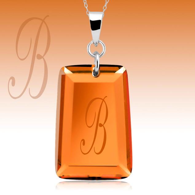 Sterling Silver Orange Crystal Initial Necklace - Choose Letter
