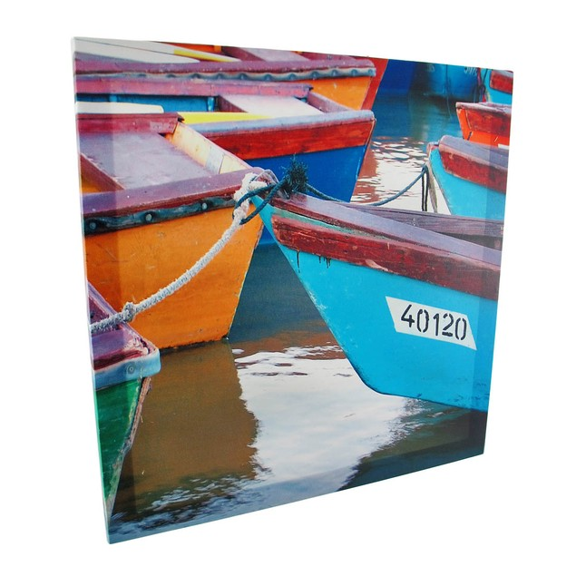 Pair Of Colorful Boats Printed Canvas Wall Art Prints