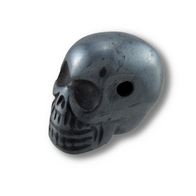 Carved Hematite Gemstone Skull Pendant 25Mm 1 In. Loose Gemstones