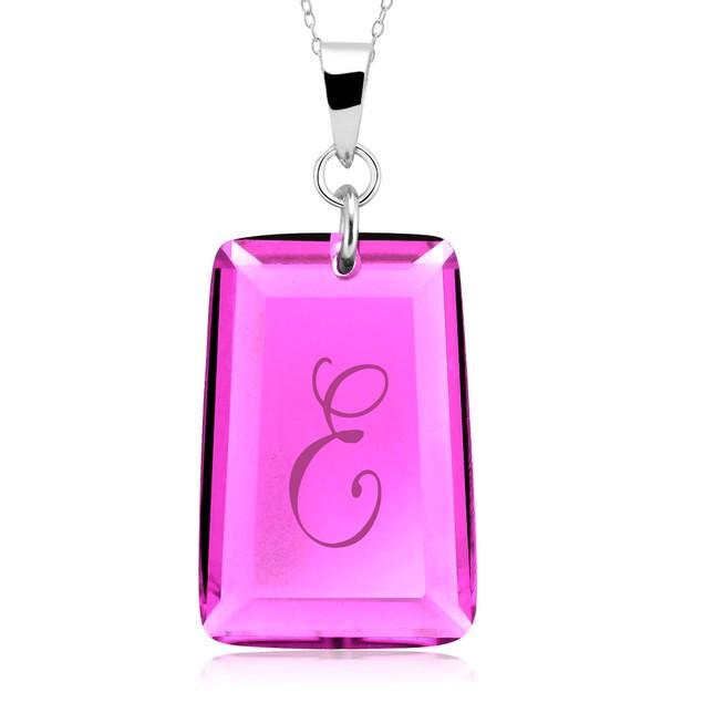 Engraved Alexandrite Crystal Initial Pendant
