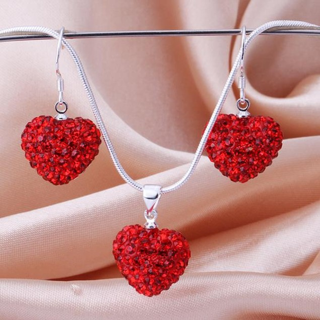 Austrian Stone Solid-Pave Heart Earring and Necklace Set - Solid Red