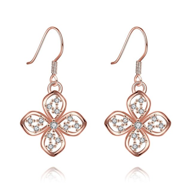 Rose Gold Plated Hollow Clover Drop Down Earrings