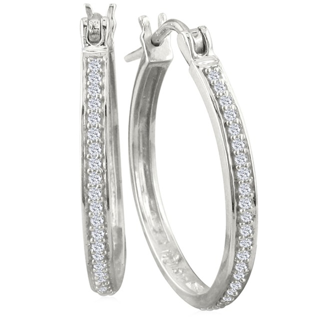 1/4ct Diamond Hoop Earrings in Sterling Silver