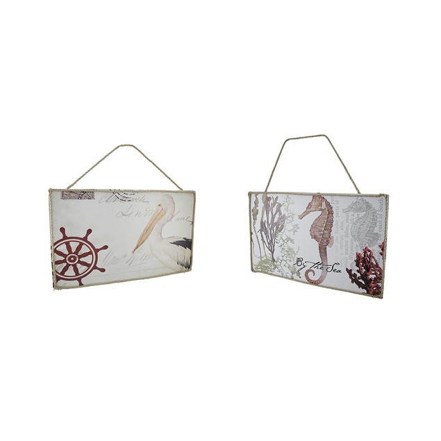 Set Of 2 Nautical And Beach Style Wooden Wall Decorative Plaques