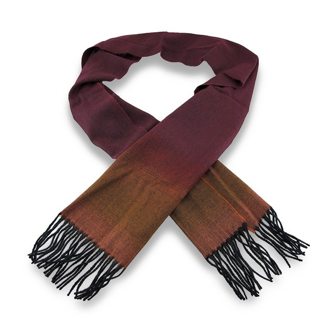 Ombre Wine Luxury Cashmere Feel Scarf W/Fringe Mens Cold Weather Scarves