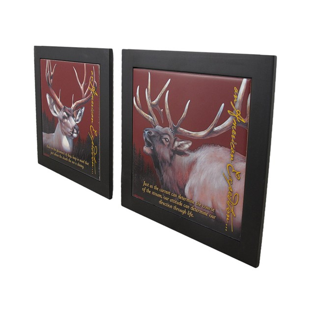 Set Of 2 Elk And Mule Deer Wildlife Wood Framed Trivets