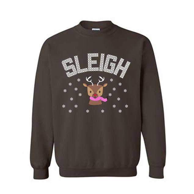 Sleigh Girl Reindeer Couples Holiday Ugly Christmas Sweater Crewneck