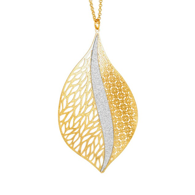 18kt Gold Plated Sterling Silver Glitter Necklace - Leaf