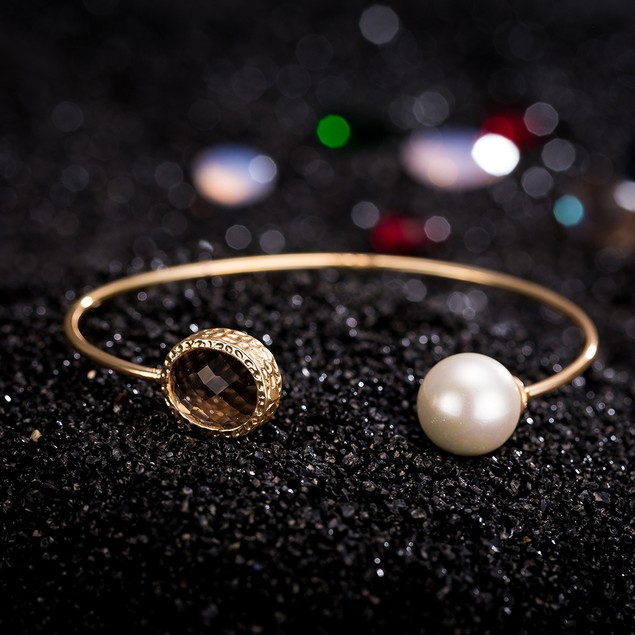 Gold Plated Open Pearl Citrine Gem Bangle