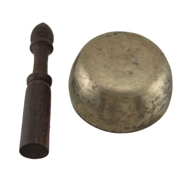 Tibetan Meditation Weathered Brass Singing Bowl W/ Singing Bowls
