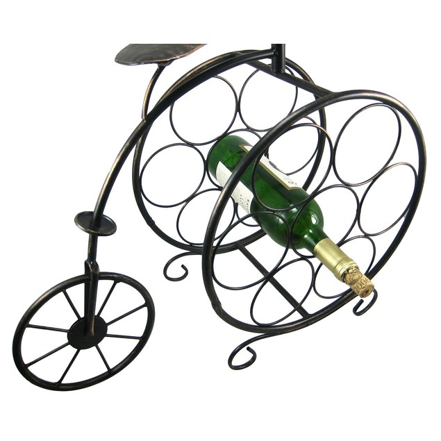 Bronze Finish Metal Antique Bicycle Wine Bottle Wine Racks