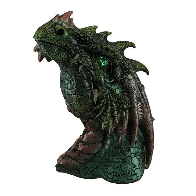 Hand Painted Dragon Head Statue W/ Red Led Eyes Statues