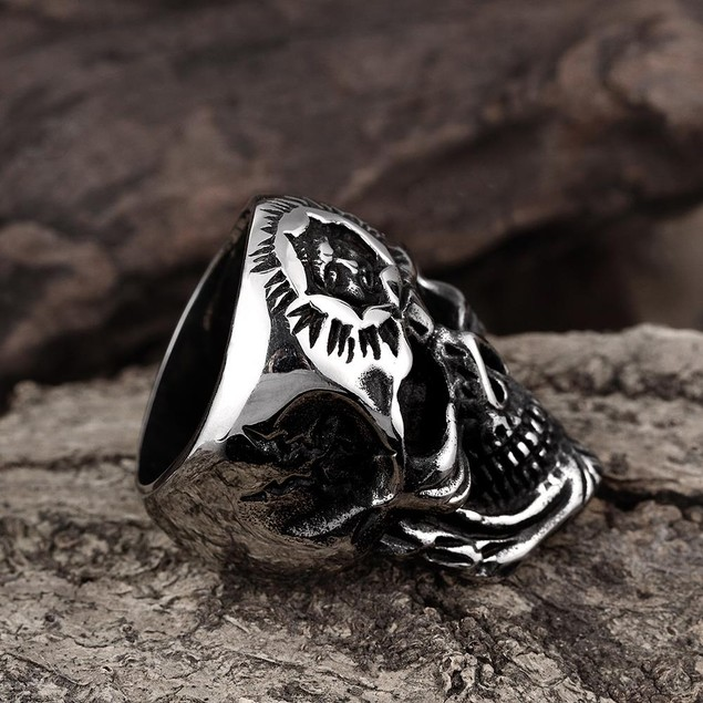 Silver Lining Stainless Steel Skull Ring
