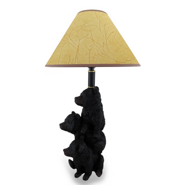 Three Stacked Black Bear Cubs Table Lamp W/Leather Table Lamps