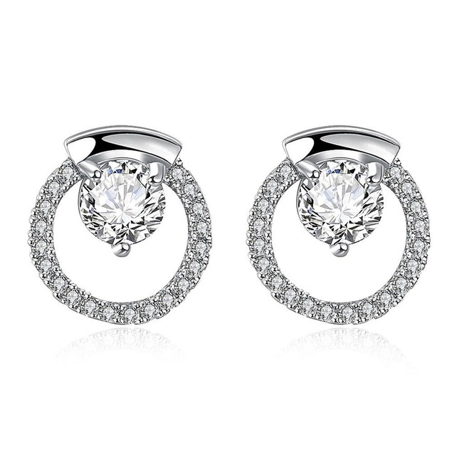 White Gold Plated Circular Studs