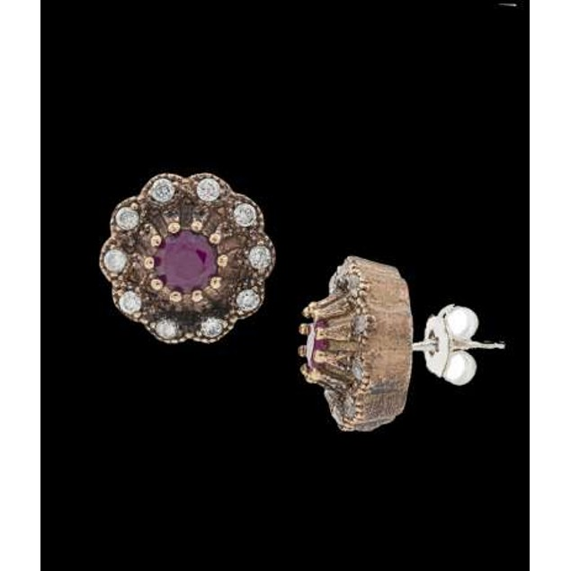 Ottanic Earings With Cz Stones Crafted From .925 Sterling Silver-Ruby/Red