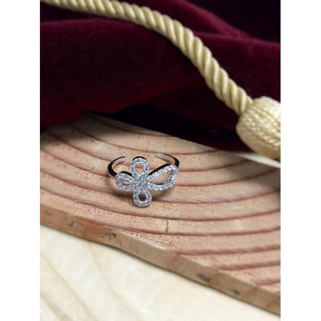 Sterling Silver & Rhinestone Open Cross Ring