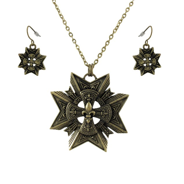 Bronze Star + Fleur De Lis Necklace And Dangle Womens Earring And Necklace