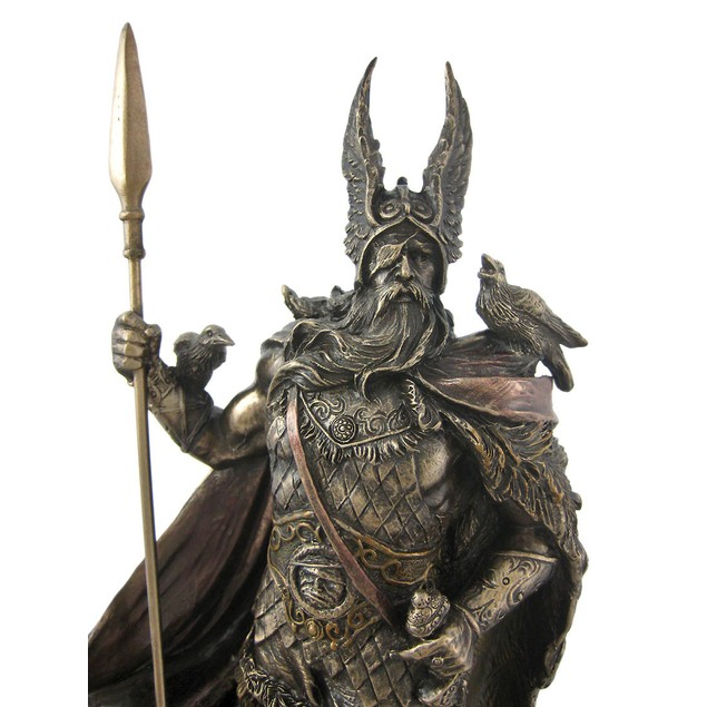 Norse God Odin Bronze Finish Statue Viking Pagan Statues