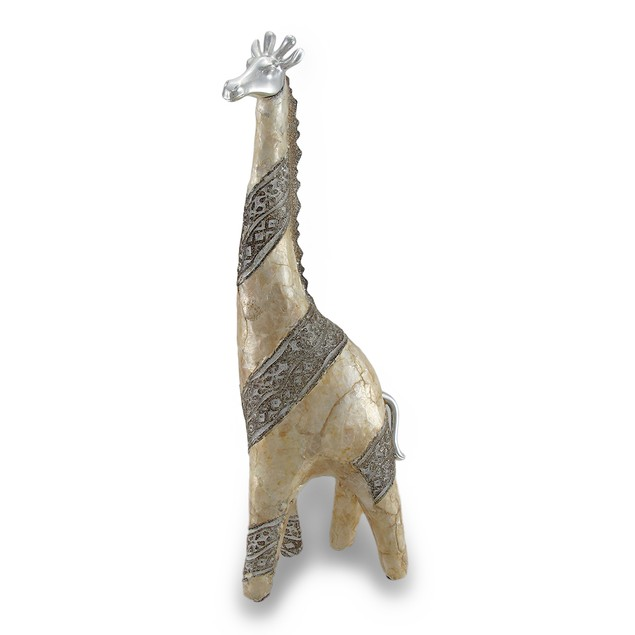 Abstract Capiz Shell Giraffe Statue W/ Chrome Statues