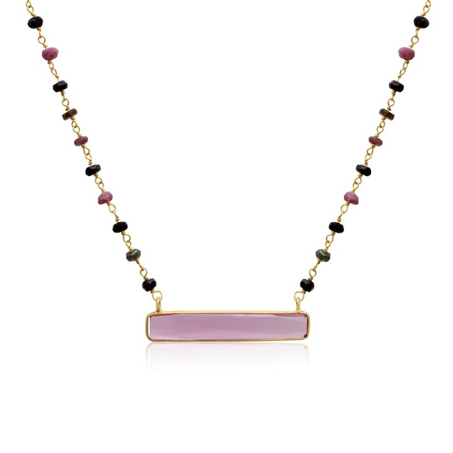 14k Yellow Gold 27ct Pink Tourmaline Bar Necklace
