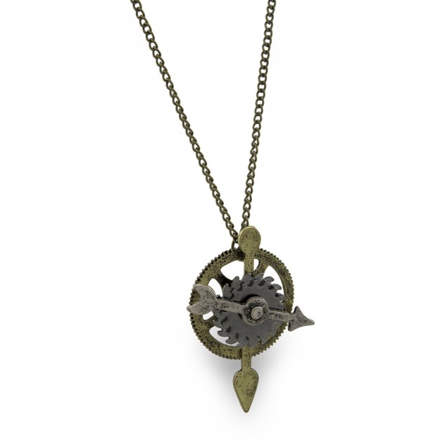 Burnished Gold Steampunk Gear And Silver Arrow Womens Pendant Necklaces